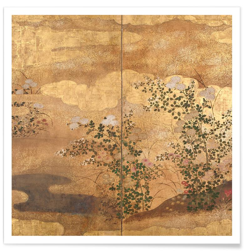Japans geïnspireerd, Autumn Flowers and Grasses Beside a Stream, Against Clouds. poster