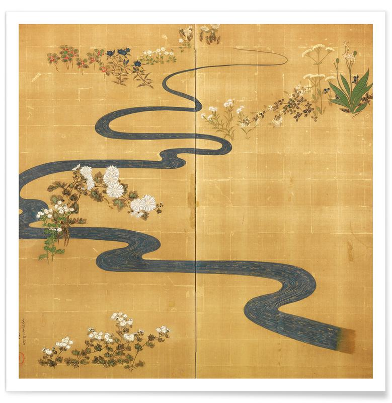 D'inspiration japonaise, A Stylised Stream Flowing Amongst Autumn Flowers affiche