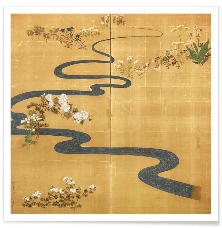 Japanisch inspiriert, A Stylised Stream Flowing Amongst Autumn Flowers -Poster