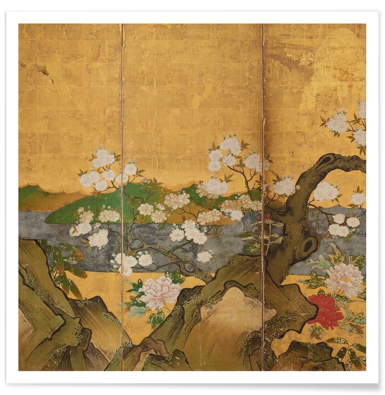 Japanisch inspiriert, Flowers in a Landscape -Poster