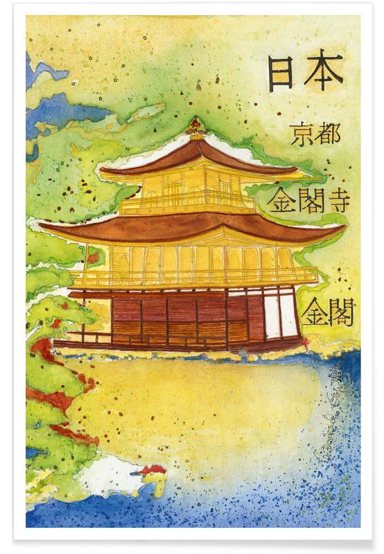 Japanisch inspiriert, Bartusch-Goger - Kinkaku (Temple of the Golden Pavilion) -Poster