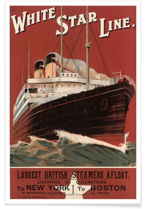 Vintage voyage, Donelly - Poster Advertising Routes to New York and Boston affiche