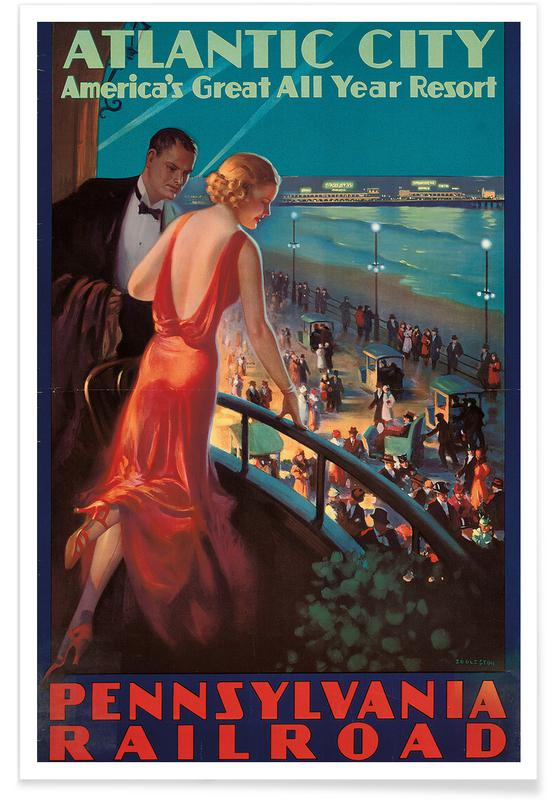 Vintage voyage, Eggleston - Poster Advertising Travel to Atlantic City by Pennsylvania Railroad affiche