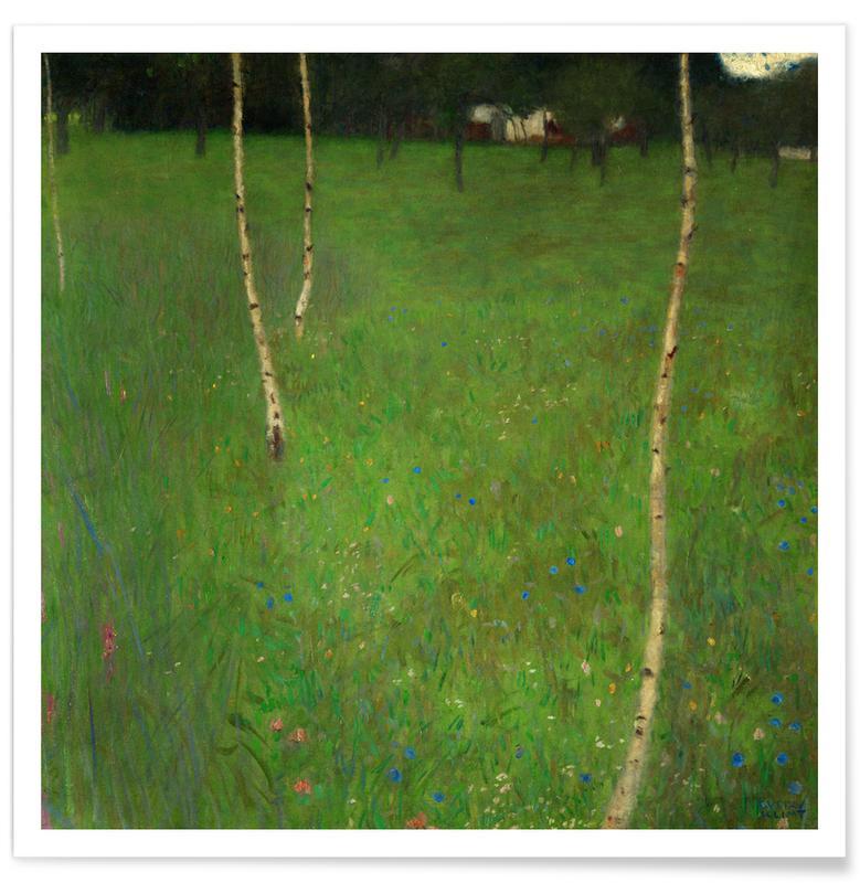 Gustav Klimt, Bomen, Klimt - Farmhouse with Birch Trees poster