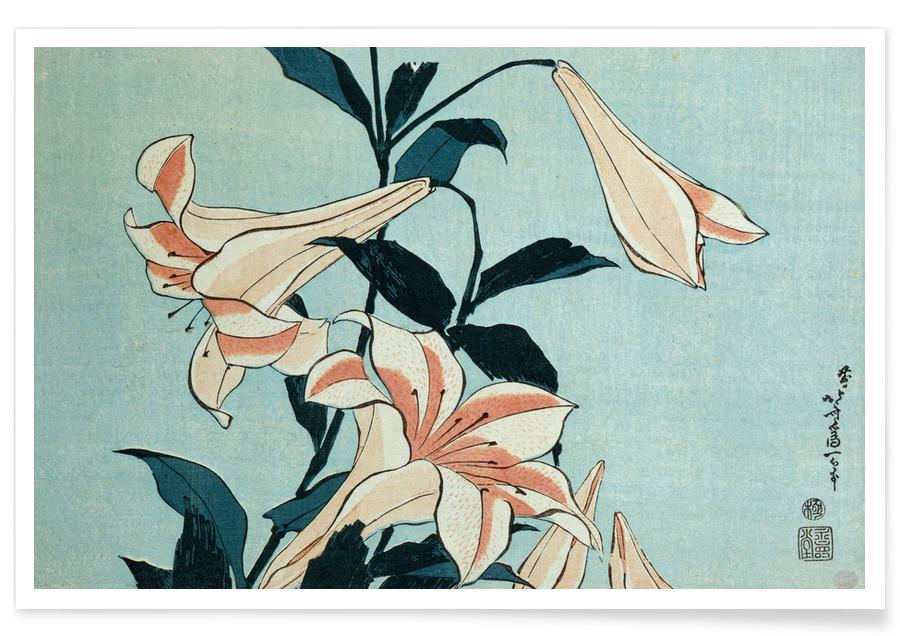 Katsushika Hokusai, D'inspiration japonaise, Hokusai - Trumpet Lilies affiche