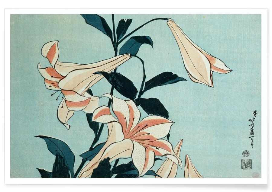 Katsushika Hokusai, Hokusai - Trumpet Lilies Plakat