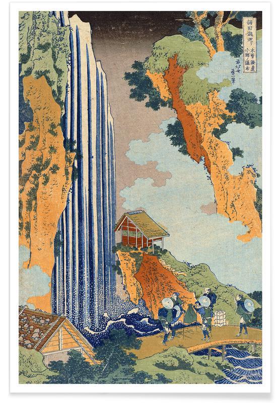 Montañas, Katsushika Hokusai, Árboles, Hokusai - Ono Waterfall, the Kiso Highway póster