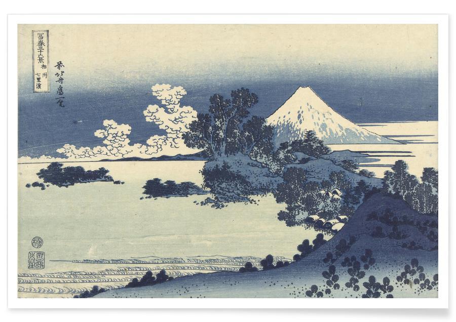 Ocean, Lake & Seascape, Katsushika Hokusai, Mountains, Hokusai - Shichirigahama Beach in Sagami Province Poster