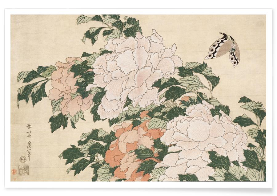 Japansk vintage, Katsushika Hokusai, Hokusai - Pink and Red Peonies Blown to the Left in a Breeze and a Butterfly Poster