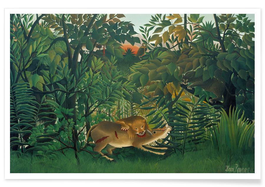 Arbres, Henri Rousseau, Lions, Forêts, Rousseau - The Hungry Lion affiche