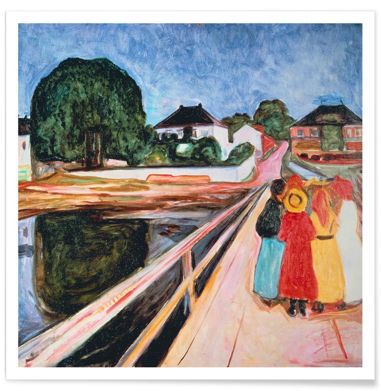 Ponts, Edvard Munch, Munch - Girls on the Bridge affiche