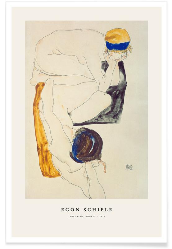 Egon Schiele, Portraits, Schiele - Two Lying Figures affiche