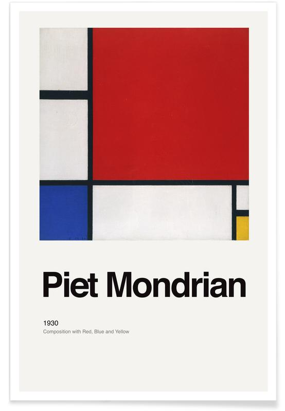Piet Mondrian, Mondrian - Composition with Red, Blue and Yellow poster