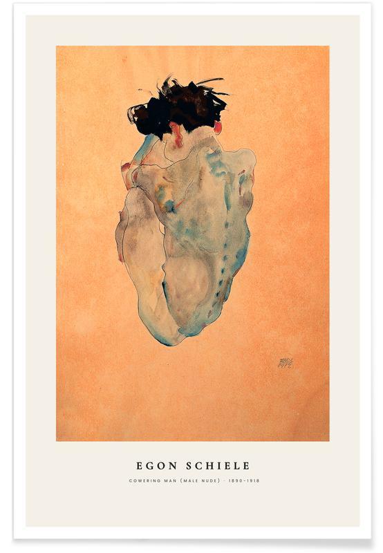 Egon Schiele, Portraits, Schiele - Cowering Man (Male Nude) affiche