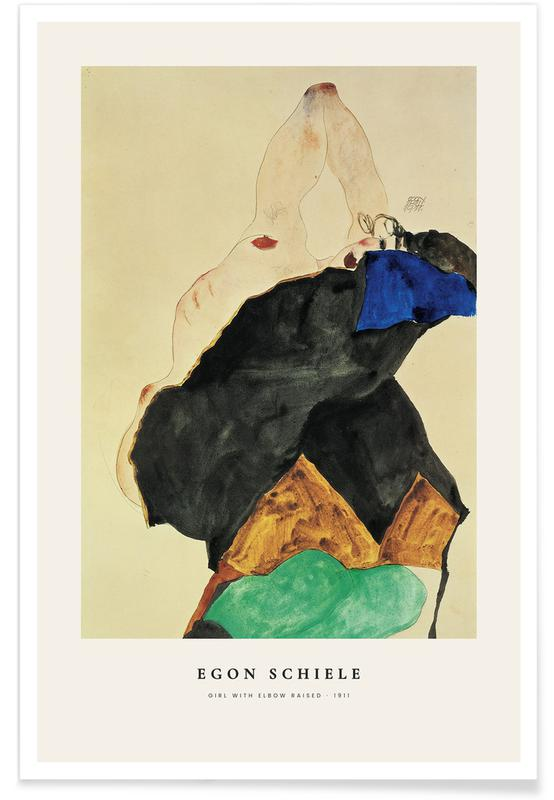 Egon Schiele, Portraits, Schiele - Girl with Elbow Raised affiche