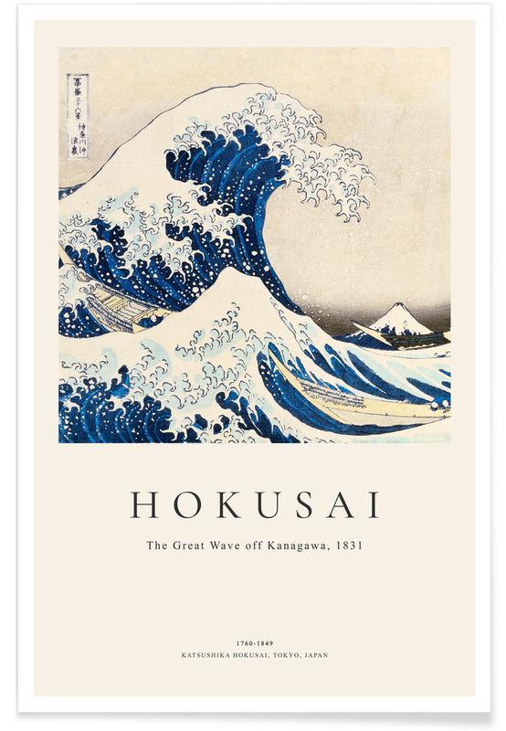 Katsushika Hokusai, Paisaje marino, lacustre y oceánico, Hokusai - The Great Wave off Kanagawa póster