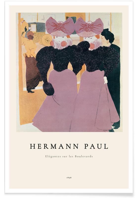 Porträts, René Georges Hermann Paul, Hermann-Paul - Elegant Ladies on the Boulevard -Poster