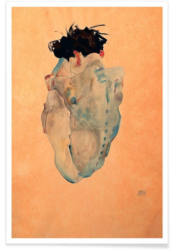 Body Close-Ups, Egon Schiele, Schiele - Cowering Man (Male Nude) Poster