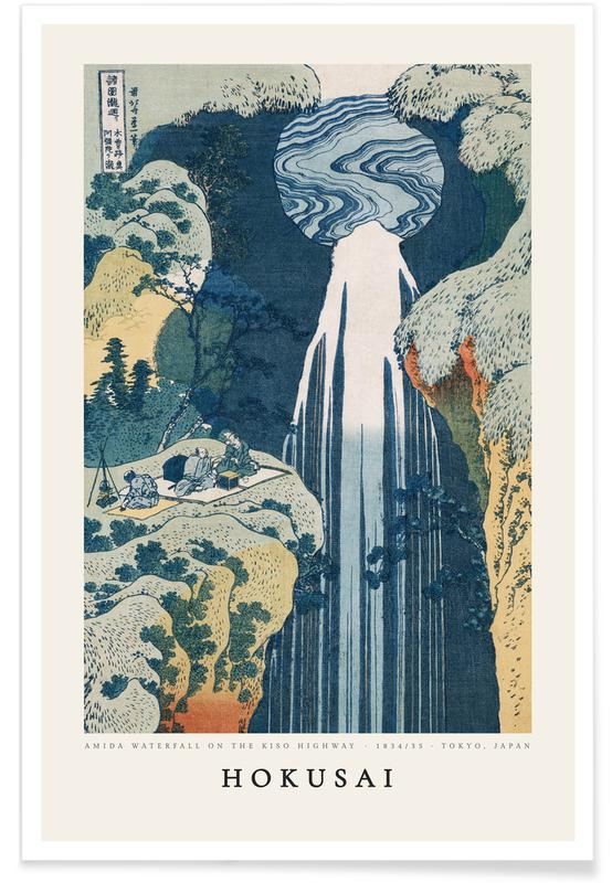 Katsushika Hokusai, Océans, mers & lacs, Hokusai - Amida Waterfall on the Kiso Highway affiche