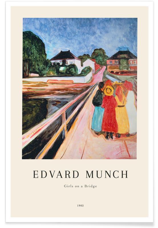 Edvard Munch, Portraits, Munch - Girls on the Bridge affiche