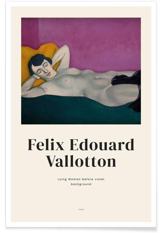 Nude, Félix Vallotton, Vallotton - Lying Woman before Violet Background Poster