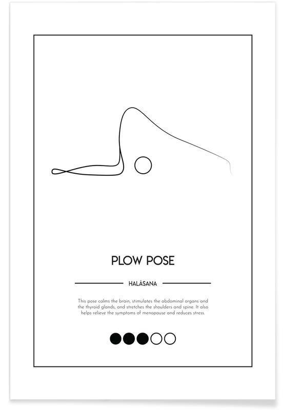 Noir & blanc, Yoga Cards - Plow Pose affiche