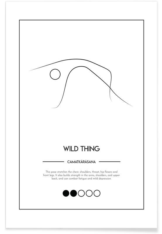 Schwarz & Weiß, Yoga Cards - Wild Thing -Poster