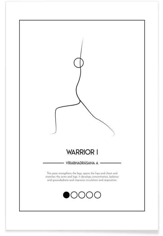 Zwart en wit, Yoga Cards - Warrior I Pose poster