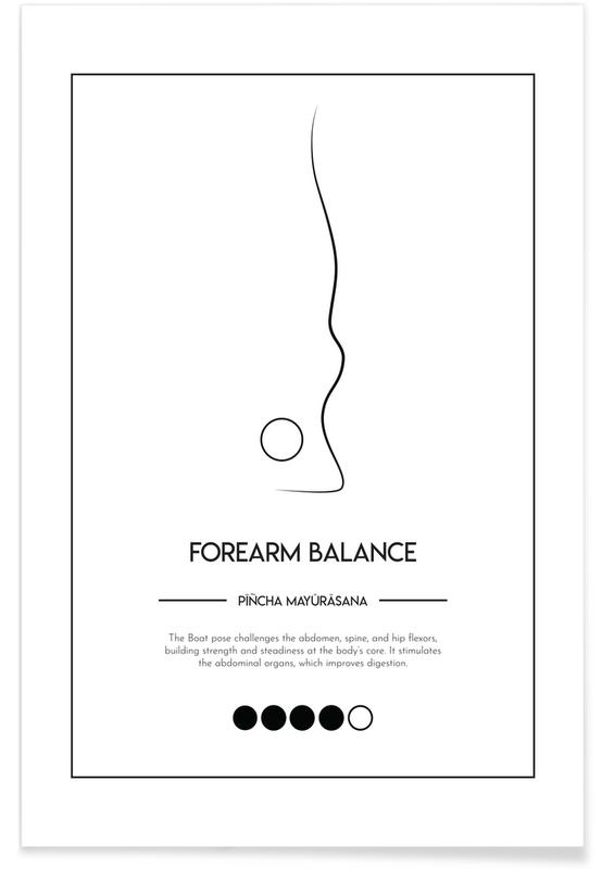 Schwarz & Weiß, Yoga Cards - Forearm Balance -Poster