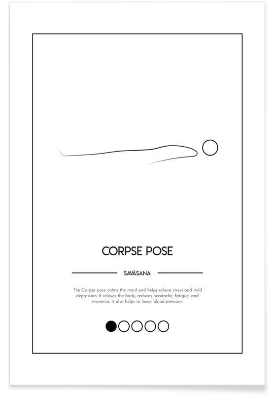 Noir & blanc, Yoga Cards - Corpse Pose affiche