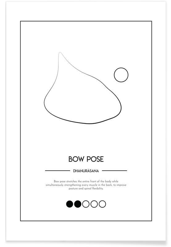 Zwart en wit, Yoga Cards - Bow Pose poster