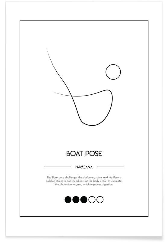 Noir & blanc, Yoga Cards - Boat Pose affiche