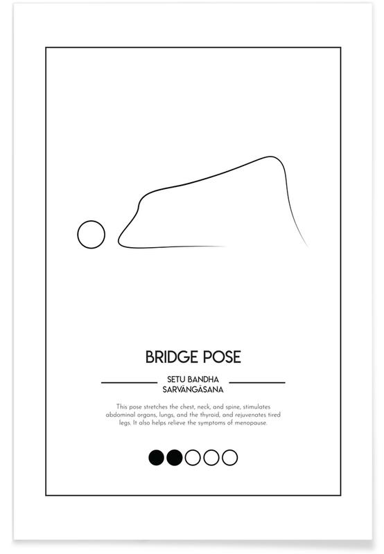 Noir & blanc, Yoga Cards - Bridge Pose affiche