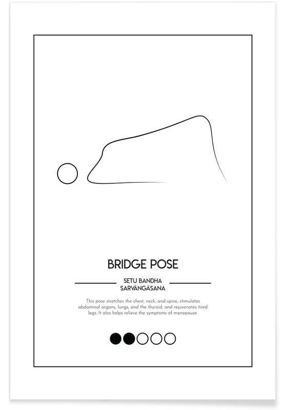 Zwart en wit, Yoga Cards - Bridge Pose poster