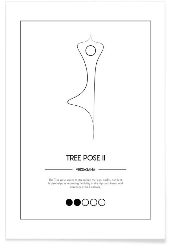 Schwarz & Weiß, Yoga Cards - Tree Pose II -Poster