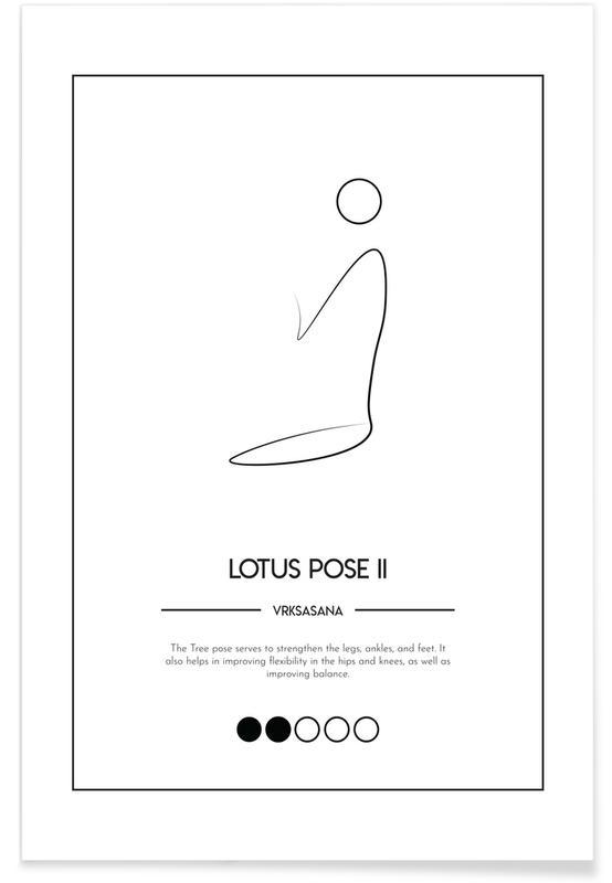 Black & White, Yoga Cards - Lotus Pose II Poster
