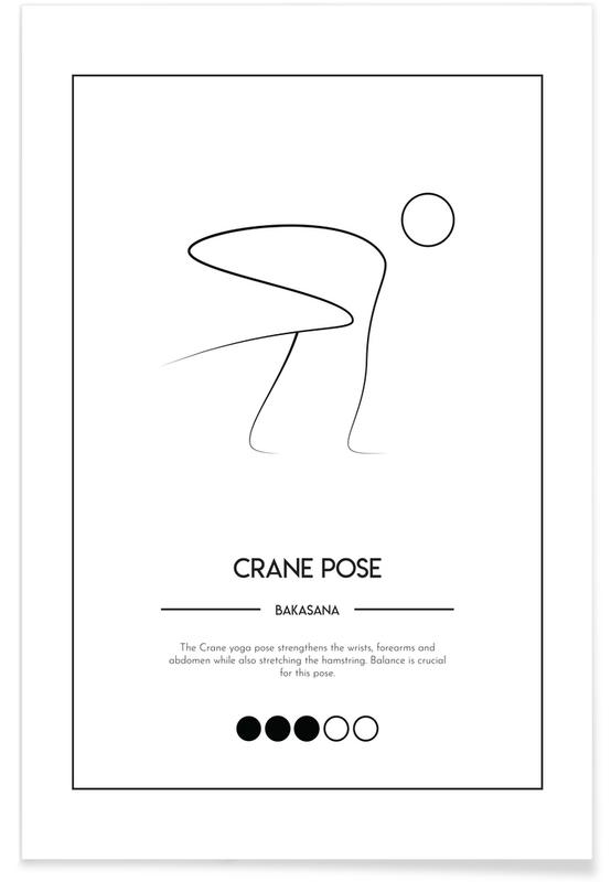 Noir & blanc, Yoga Cards - Crane Pose affiche