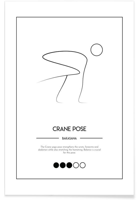 Schwarz & Weiß, Yoga Cards - Crane Pose -Poster