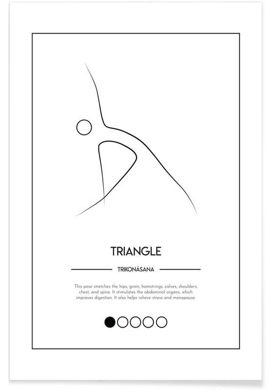 Noir & blanc, Yoga Cards - Triangle affiche