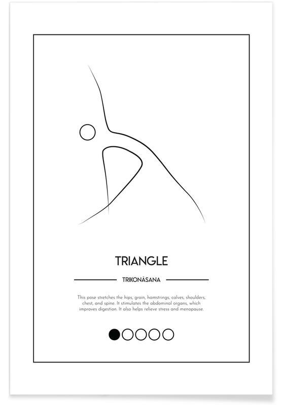 Schwarz & Weiß, Yoga Cards - Triangle -Poster