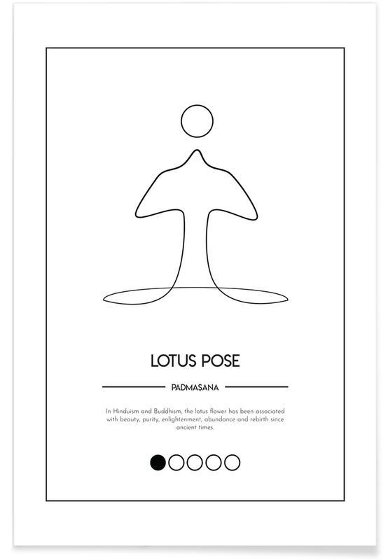 Noir & blanc, Yoga Cards - Lotus Pose affiche