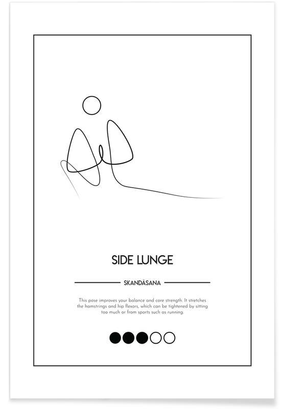 Schwarz & Weiß, Yoga Cards - Side Lunge -Poster