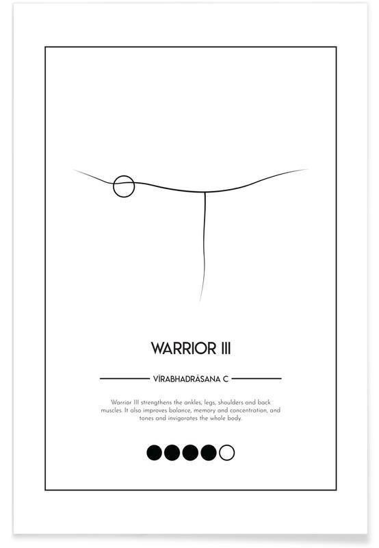 Zwart en wit, Yoga Cards - Warrior III poster