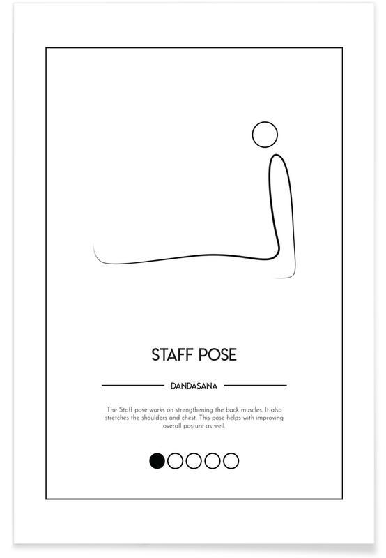 Noir & blanc, Yoga Cards - Staff Pose affiche