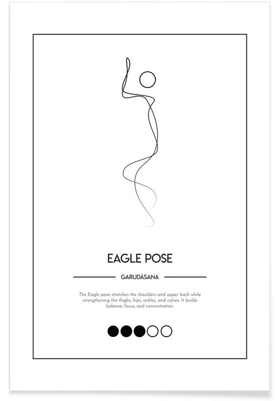Noir & blanc, Yoga Cards - Eagle Pose affiche
