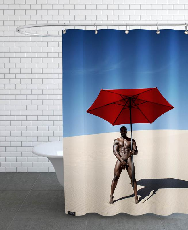 Nude, Portraits, Fashion Photography, Red Umbrella Shower Curtain