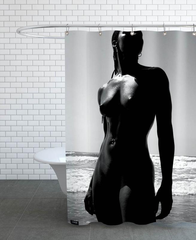 Nude, Fashion Photography, Black & White, Black Cat Shower Curtain
