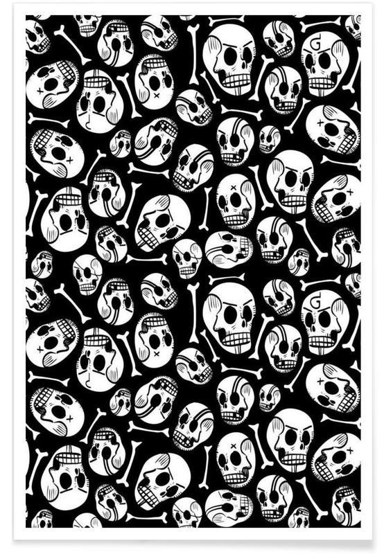 Zwart en wit, Schedels, Skulls poster