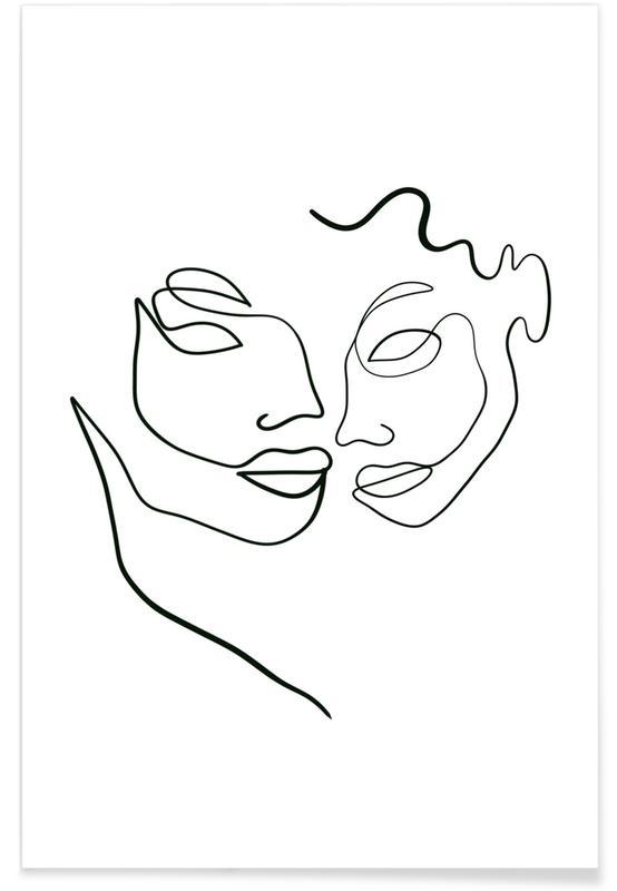 Schwarz & Weiß, Porträts, Traumwelt, Twin Souls -Poster