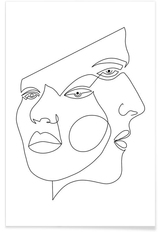 Noir & blanc, Portraits, Rêve, Delusion affiche